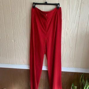 NWOT red pinstripe suit pants